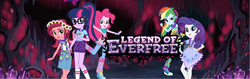 Size: 1664x524   Tagged: safe, gloriosa daisy, pinkie pie, rainbow dash, rarity, sci-twi, twilight sparkle, equestria girls, legend of everfree, camp everfree logo, camp everfree outfits, camp fashion show outfit, clothes, converse, female, official, ponytail, shoes