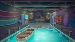 Size: 791x445   Tagged: safe, screencap, equestria girls, legend of everfree, background, boat, boat house, lifejacket, photo, scenery