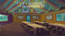 Size: 791x445   Tagged: safe, equestria girls, legend of everfree, background, camp everfree, camp everfree logo, canteen, flag, scenery
