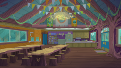 Size: 539x303   Tagged: safe, screencap, equestria girls, legend of everfree, background, camp everfree, camp everfree logo, canteen, flag, picture, scenery