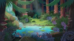 Size: 540x302   Tagged: safe, screencap, equestria girls, legend of everfree, background, forest, mushroom, photo, pine tree, plants, pond, scenery, scenery porn, tree, waterfall