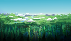Size: 1920x1105 | Tagged: background, cloud, equestria girls, forest, legend of everfree, mountain, no pony, pine tree, road, safe, scenery, scenery porn, screencap, tree, wilderness