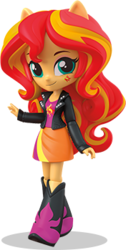 Size: 176x349 | Tagged: safe, sunset shimmer, equestria girls, official, clothes, cute, doll, equestria girls minis, female, irl, jacket, leather jacket, photo, ponied up, shimmerbetes, skirt, toy