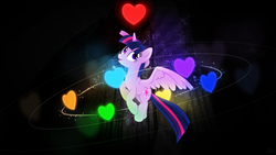 Size: 1920x1080 | Tagged: safe, artist:antylavx, artist:theshadowstone, twilight sparkle, alicorn, pony, unicorn, bravery, determination, female, heart, integrity, justice, kindness, mare, patience, perseverance, solo, souls, surrounded, twilight sparkle (alicorn), undertale, vector, wallpaper
