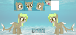 Size: 1288x604 | Tagged: safe, artist:selenaede, artist:sinamuna, oc, oc only, oc:nibbles, original species, shark pony, base used, green hair, reference sheet, sharp teeth, solo, teeth, yellow eyes