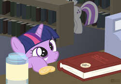 Size: 1120x780 | Tagged: artist:dm29, bits, book, book store, cute, duo, female, filly, filly twilight sparkle, julian yeo is trying to murder us, library, mare, mother and daughter, pony, safe, smiling, twiabetes, twilight sparkle, twilight velvet, twily, unicorn, younger