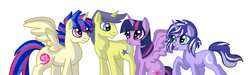 Size: 1022x305 | Tagged: safe, artist:cascayd, comet tail, twilight sparkle, oc, alicorn, pony, alicorn oc, cometlight, family, female, male, offspring, parent:comet tail, parent:twilight sparkle, parents:cometlight, shipping, straight, twilight sparkle (alicorn)