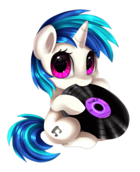 Size: 1836x2261 | Tagged: safe, artist:pridark, dj pon-3, vinyl scratch, pony, unicorn, cute, female, filly, filly vinyl scratch, hoof hold, looking at you, mouth hold, nibbling, nom, pridark is trying to murder us, record, simple background, sitting, solo, transparent background, vinylbetes, weapons-grade cute, wub, younger