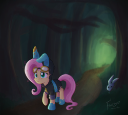 Size: 700x630   Tagged: safe, artist:falldust, angel bunny, fluttershy, pegasus, pony, bunny ears, clothes, costume, dangerous mission outfit, duo, female, forest, goggles, hoodie, mare, messy mane, raised hoof, scared, searching, torn clothes