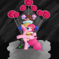 Size: 1024x1024   Tagged: safe, artist:dj-rainbow-dash, chancellor puddinghead, pinkie pie, game of thrones, solo, throne, throne slouch