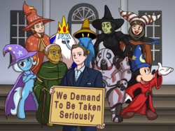 Size: 2009x1500 | Tagged: 8-bit theater, adventure time, arrested development, artist:serenamidori, barely pony related, black mage, crossover, discworld, female, final fantasy, gob bluth, ice king, magician, mare, mass effect, mickey mouse, niftu cal, pony, power rangers, rincewind, rita repulsa, safe, simon the sorcerer, spaceballs the tag, the wizard of oz, trixie, unicorn, wicked witch of the west, yogurt