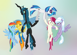 Size: 1260x900 | Tagged: artist:hudoyjnik, cloudchaser, dj pon-3, eyes closed, floppy ears, flying, lifting, lifting ponies, one eye closed, queen chrysalis, rainbow dash, roseluck, safe, scared, shy, smiling, spitfire, vinyl scratch, wink