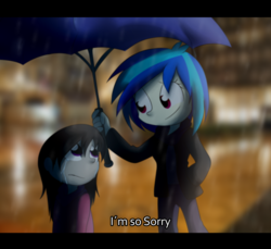 Size: 5470x5000 | Tagged: safe, artist:fj-c, dj pon-3, octavia melody, vinyl scratch, equestria girls, absurd resolution, crying, eye contact, female, frown, lesbian, rain, sad, scratchtavia, shipping, smiling, umbrella