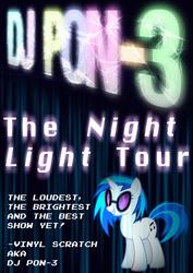 Size: 2480x3508   Tagged: safe, artist:skeptic-mousey, dj pon-3, vinyl scratch, unicorn, poster, smiling, solo, tour