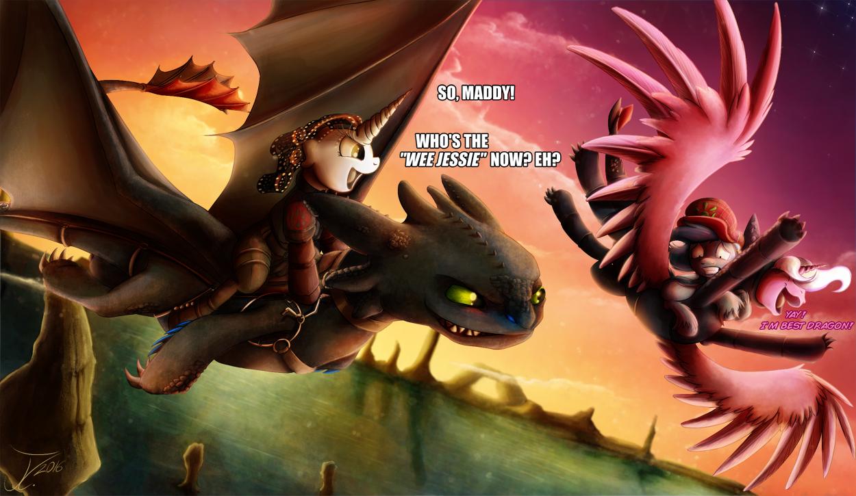 #1196874  Artist:jamescorck, Crossover, Dragon, How To Train Your Dragon,  How To Train Your Dragon 2, Oc, Oc:mad Munchkin, Oc:mary Sue, Oc:movie  Slate,