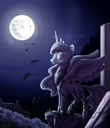 Size: 789x916 | Tagged: safe, artist:28gooddays, princess luna, alicorn, bat, pony, female, full moon, mare in the moon, moon, night, ruins, solo, statue