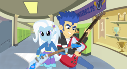 Size: 1600x872 | Tagged: artist:themexicanpunisher, canterlot high, clothes, electric guitar, equestria girls, esp alexi laiho, female, flash sentry, flying v, guitar, guitar pick, hallway, male, pants, playing, safe, sentrixie, shipping, skirt, straight, trixie