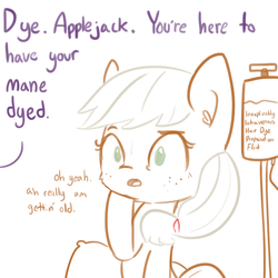 Size: 792x792 | Tagged: safe, artist:tjpones, applejack, twilight sparkle, alicorn, earth pony, pony, :o, bait and switch, dye, dyed mane, female, iv drip, lampshade hanging, mare, mood whiplash, offscreen character, open mouth, simple background, sitting, solo focus, twilight sparkle (alicorn), white background, wide eyes