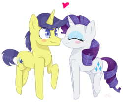 Size: 750x623   Tagged: safe, artist:ultrard, comet tail, rarity, blush sticker, blushing, colored pupils, cometity, eyes closed, female, heart, male, raised hoof, raised leg, shipping, simple background, smiling, straight, transparent background