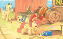 Size: 4427x2760 | Tagged: safe, artist:dimfann, apple bloom, applejack, earth pony, pony, the cart before the ponies, apple bloom's bow, applejack's hat, bow, cart, cowboy hat, cute, cutie mark, duo, female, filly, hair bow, hammer, hat, mare, mouth hold, nitrous, nitrous oxide, nos, open mouth, pipe, scissor doors, sisters, the cmc's cutie marks, this will end in tears and/or death and/or covered in tree sap, vtec
