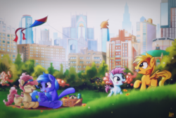 Size: 1500x1000 | Tagged: safe, artist:ruhisu, oc, oc only, oc:brave wing, oc:forgetmenot, oc:hazel heart, oc:pliszka, pegasus, pony, apple, banana, basket, bottle, building, city, cityscape, colt, corral park, crystaller building, female, filly, food, friends, group, juice, kite, kite flying, laughing, male, manehattan, mother, mouth hold, park, picnic, picnic blanket, sandwich, skyscraper, talking