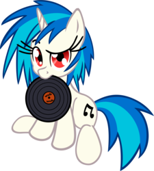 Size: 4000x4452 | Tagged: safe, artist:leadhooves, artist:shelmo69, dj pon-3, vinyl scratch, pony, unicorn, cutie mark, female, hooves, horn, mare, mouth hold, record, simple background, sitting, solo, text, transparent background, vector, wrong eye color