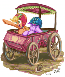 Size: 643x763 | Tagged: safe, artist:jowybean, applejack, twilight sparkle, alicorn, earth pony, pony, snail, twijack weekly, the cart before the ponies, bored, cart, female, frown, helmet, mare, shipping, simple background, twijack, twilight is not amused, twilight sparkle (alicorn), unamused, white background