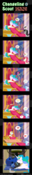 Size: 600x3263 | Tagged: safe, artist:vavacung, octavia melody, prince blueblood, princess celestia, princess luna, roseluck, trixie, changeling, pony, unicorn, comic:changeling-scout, bluetrix, blushing, book, comic, cookie, cuddling, female, food, gameloft, heart, male, mare, milk, pointy ponies, prone, reading, shipping, snuggling, straight, throne
