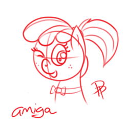 Size: 500x500 | Tagged: amiga, artist:glimglam, bowtie, freckles, lineart, looking at you, monochrome, oc, oc:amiga, oc only, one eye closed, open mouth, ponified, ponytail, safe, sketch, solo, wink