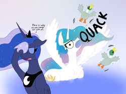 Size: 1600x1200 | Tagged: safe, artist:dragonpone, derpibooru exclusive, princess celestia, princess luna, duck, duck pony, mallard, behaving like a bird, chest fluff, crown, ducklestia, eyes closed, facehoof, feather, gooselestia, hoof shoes, jewelry, luna is not amused, majestic as fuck, necklace, pond, quack, regalia, swanlestia, this is why we can't have nice things, unamused