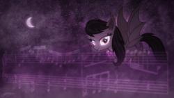 Size: 1920x1080   Tagged: safe, artist:doctor-g, artist:jamey4, octavia melody, bat pony, pony, bat ponified, batavia, crescent moon, glowing eyes, looking at you, necktie, night sky, race swap, solo, stars, wallpaper