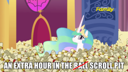 Size: 1280x720 | Tagged: 28 pranks later, ball pit, big ol' pile o' scrolls, caption, dashcon, discovery family logo, edit, edited screencap, extra hour, image macro, meme, princess celestia, safe, screencap, scroll, scrollestia meme