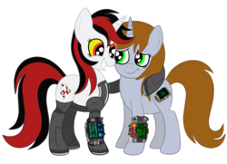 Size: 1936x1400   Tagged: safe, artist:squipycheetah, oc, oc only, oc:blackjack, oc:littlepip, cyborg, pony, unicorn, fallout equestria, fallout equestria: project horizons, amputee, cute, cutie mark, fallout, female, happy, height difference, hug, jaundice, level 2 (project horizons), looking down, looking up, mare, missing accessory, pipboy, pipbuck, prosthetics, shipping, simple background, smiling, teeth, transparent background, vector