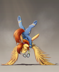 Size: 1747x2122 | Tagged: safe, artist:ncmares, spitfire, pegasus, pony, clothes, dock, eyes closed, female, goggles, mare, scrunchie, solo, sweat, underhoof, upside down, wing-ups, wonderbolts uniform