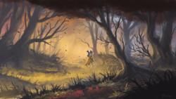 Size: 1920x1080 | Tagged: safe, artist:shamanguli, zecora, zebra, autumn, cloak, clothes, everfree forest, female, forest, scenery, scenery porn, solo