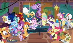 "Size: 1465x860 | Tagged: safe, artist:dm29, apple bloom, applejack, boulder (pet), cheerilee, coco pommel, daring do, derpy hooves, fluttershy, garble, gourmand ramsay, maud pie, princess cadance, princess ember, princess flurry heart, princess luna, quibble pants, rainbow dash, rarity, saffron masala, shining armor, snowfall frost, spike, spirit of hearth's warming yet to come, starlight glimmer, sunburst, tender taps, trixie, twilight sparkle, zephyr breeze, alicorn, dragon, pony, a hearth's warming tail, applejack's ""day"" off, flutter brutter, gauntlet of fire, newbie dash, no second prances, on your marks, spice up your life, stranger than fan fiction, the cart before the ponies, the crystalling, the gift of the maud pie, the saddle row review, angel rarity, backwards cutie mark, bathrobe, beach chair, bloodstone scepter, body pillow, broom, cheerileeder, cheerleader, clothes, cold, couch, cracked armor, crossing the memes, cutie mark, dancing, devil rarity, dragon lord spike, emble, female, filly, first half of season 6, garble's hugs, gordon ramsay, handkerchief, hat, hearth's warming, hiatus, male, meme, menu, now you're thinking with portals, portal, present, rainbow trash, safety goggles, shipping, sick, speed racer, straight, sweeping, sweepsweepsweep, tenderbloom, the cmc's cutie marks, the meme continues, the story so far of season 6, this isn't even my final form, tissue, toolbelt, top hat, towel, trash can, twilight sparkle (alicorn), twilight sweeple, wall of tags, wonderbolts uniform"