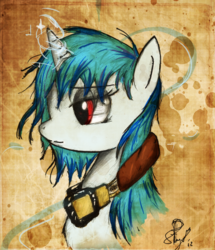 Size: 1617x1882 | Tagged: safe, artist:il-phantom, dj pon-3, vinyl scratch, solo, traditional art