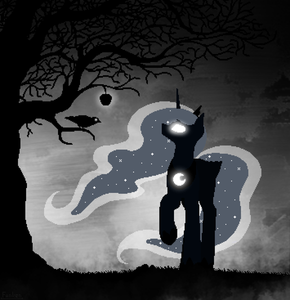 Size: 2130x2202 | Tagged: safe, artist:dipfanken, princess luna, alicorn, bird, pony, apple, beautiful, darkness, featured image, female, fog, food, glowing eyes, limited palette, looking up, mare, night, pixel art, raised hoof, silhouette, solo, tree