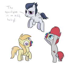 Size: 1000x872 | Tagged: safe, artist:mightyshockwave, noi, rumble, train tracks (character), zombie, 28 pranks later, cookie zombie, foal