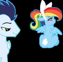 Size: 889x876 | Tagged: safe, artist:sofialurax, rainbow dash, soarin', pony, female, male, shipping, simple background, soarindash, straight, transparent background