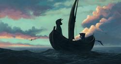 Size: 1280x681 | Tagged: dead source, safe, artist:maggwai, princess luna, twilight sparkle, alicorn, bird, pony, seagull, boat, cloak, clothes, duo, ocean, robe, scenery