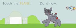 Size: 1846x693 | Tagged: safe, artist:fameng, oc, oc only, oc:blitz, original species, plane pony, pony, a-10 thunderbolt ii, do it now, meme, plane, r-9a arrowhead, r-type, touch the cow