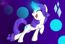 Size: 1024x696 | Tagged: abstract background, artist:whitelie, cute, cutie mark, cutie mark background, eyes closed, female, glowing horn, happy, magic, mare, open mouth, pony, purple background, raised hoof, raised leg, raribetes, rarity, safe, signature, simple background, smiling, solo, unicorn