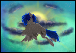 Size: 1704x1200 | Tagged: safe, artist:king-wilku, oc, oc only, oc:sapphire sights, pegasus, pony, flying, sky, solo