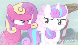 Size: 590x338 | Tagged: safe, artist:rcrity, princess flurry heart, princess skyla, alicorn, pony, crystal sisters, cute, filly, grumpy, manip, older