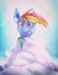 Size: 2000x2600 | Tagged: artist:ferasor, cold, freezing, freezing fetish, gritted teeth, newbie artist training grounds, rainbow dash, safe, snow, snowfall, solo