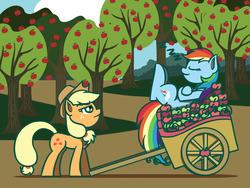 Size: 1280x960 | Tagged: safe, artist:flutterluv, applejack, rainbow dash, duo, lazy, newbie artist training grounds, sweet apple acres