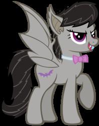 Size: 1000x1266   Tagged: safe, artist:dragonchaser123, octavia melody, bat pony, pony, alternate cutie mark, bat ponified, batavia, fangs, race swap, simple background, solo, transparent background, vector