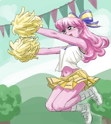 Size: 895x1000 | Tagged: safe, artist:invisibleone11, cheerilee, equestria girls, the cart before the ponies, armpits, belly button, cheerileeder, cheerleader, clothes, female, fetish, hair bow, legs, midriff, miniskirt, open mouth, pleated skirt, pom pom, shoes, skirt, sneakers, sneakers fetish, socks, solo