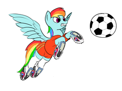 Size: 1024x768 | Tagged: artist:clacksphob, clothes, derpibooru exclusive, football, jersey, newbie artist training grounds, rainbow dash, safe, socks, solo
